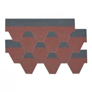 Asian Red Hexagonal Asphalt Roof Shingle